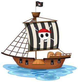 Statek piracki z flagą jolly roger na białym tle