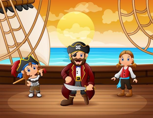 Statek piracki z kapitanem na morzu