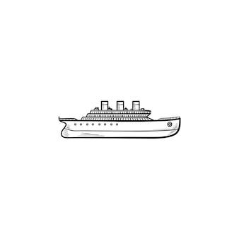 Statek ręcznie rysowane konspektu doodle ikona. kontener cargo, wysyłka i dostawa, koncepcja transportu. szkic ilustracji wektorowych do druku, sieci web, mobile i infografiki na białym tle.