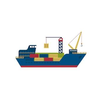 Statek tankowiec z kontenerami.
