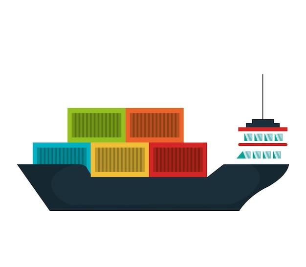 Statek towarowy dostawy usługi wektor ilustracja projektu
