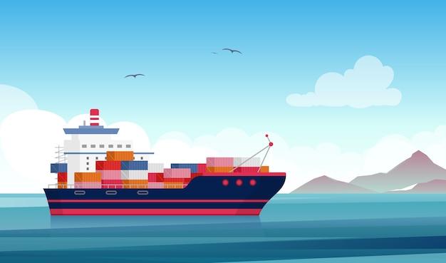 Statek towarowy płaski kontenerowiec morski przemysł stoczniowy