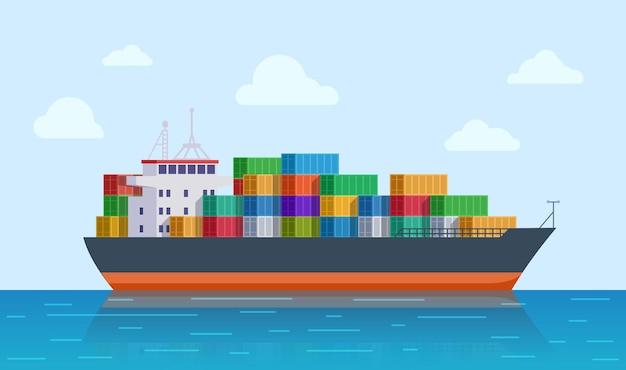 Statek towarowy. port statków, eksport lub import tankowców. międzynarodowa logistyka morska. ilustracja transportu morskiego i dostawy. statek, transport w przemyśle towarowym