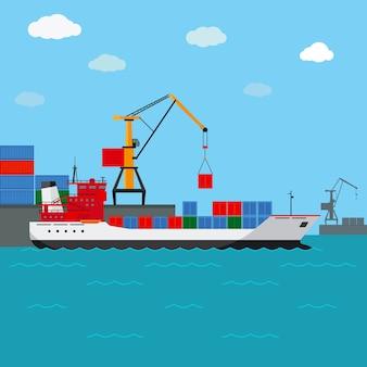 Statek towarowy. przewóz towarów drogą wodną. transport i kontener, przemysł i logistyka