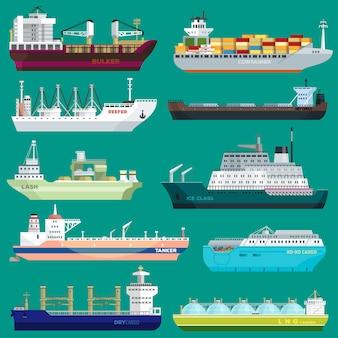 Statek towarowy wektor wysyłka transport wywóz handlu pojemnik ilustracja zestaw przemysłowej frachtu transportu portu wysyłki na białym tle