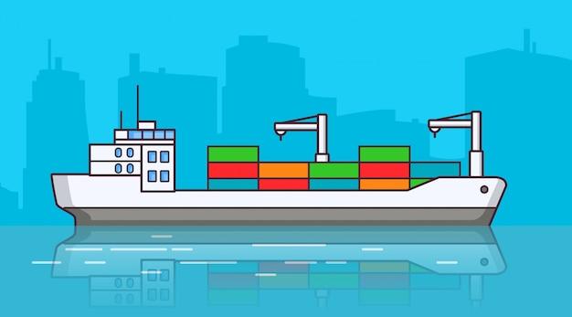 Statek towarowy, wysyłka frachtowca.