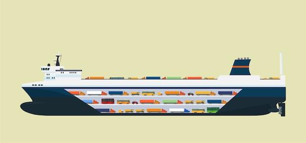 Statek transportowy na białym tle. ilustracja płaski.