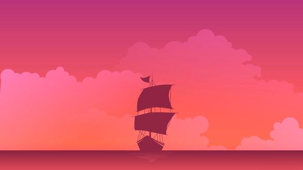 Statek w krajobrazie morza, płaska konstrukcja