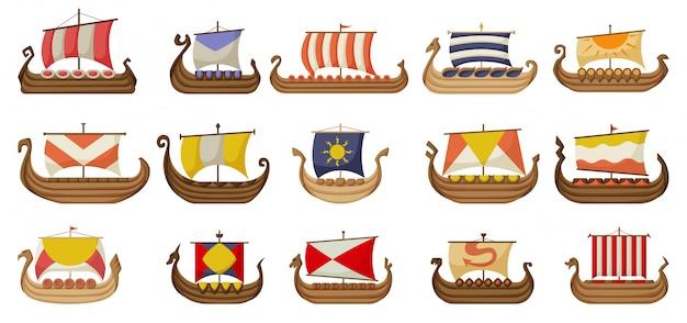 Statek wikingów kreskówka zestaw ikon. starożytna łódź ilustracja