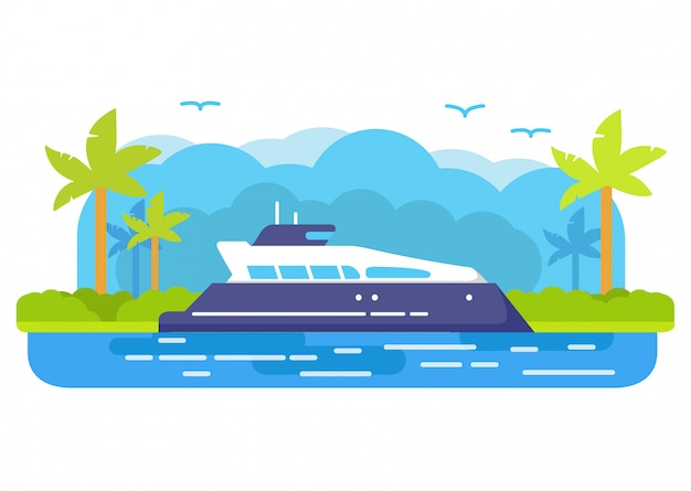 Statek wycieczkowy jacht. letnia podróż morska. tropikalna wyspa palmy. wyprawa przez może. koncepcja banera.