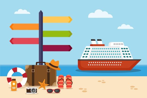 Statek wycieczkowy na morzu i walizka na plaży i drogowskazie