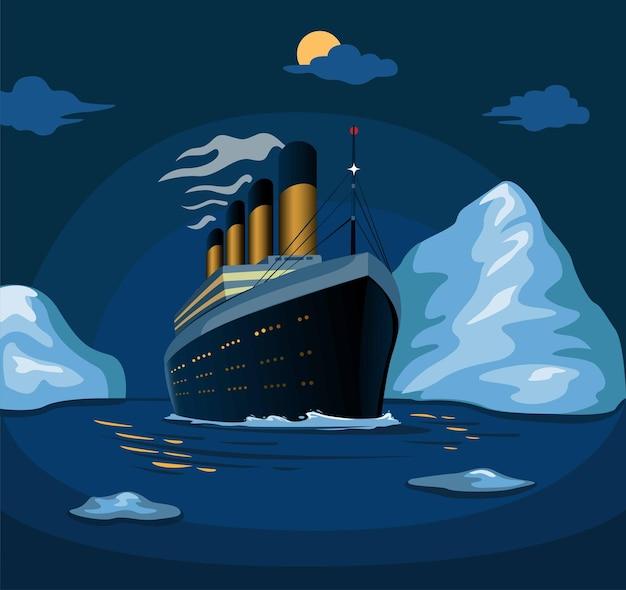 Statek wycieczkowy titanic płynie po morzu z górami lodowymi w nocy