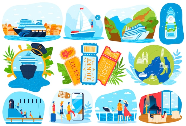 Statek wycieczkowy wakacje morskie zestaw ilustracji pakiet.
