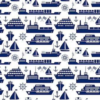 Statki i łodzie morskie bezszwowe tło wzór z sylwetka wektorowe ikony liniowca jacht żaglówka kontenerowiec tankowiec frachtowiec kotwica semafor flagi statki koło koło