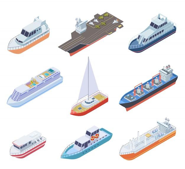 Statki izometryczne. statki żeglujące łodzie morskie barka statek handlowy morski morski jacht żaglowy prom 3d wektor zestaw przesyłek