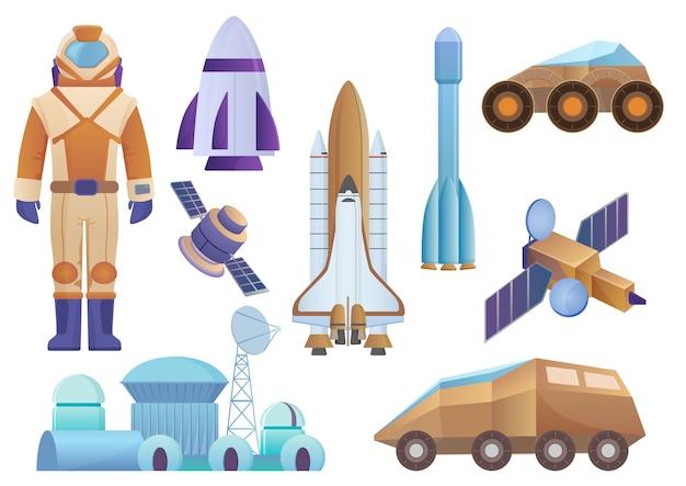 Statki kosmiczne, budowanie kolonii, rakieta, kosmonauta w kombinezonie kosmicznym, satelita i robot łazik marsjański. wektor zestaw przestrzeni galaktyki na białym tle