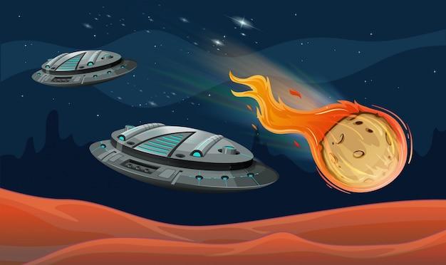 Statki kosmiczne i astroid w kosmosie