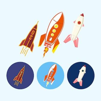 Statki kosmiczne, rakiety. zestaw trzech okrągłych kolorowych ikon, różnych typów rakiet, ilustracji wektorowych