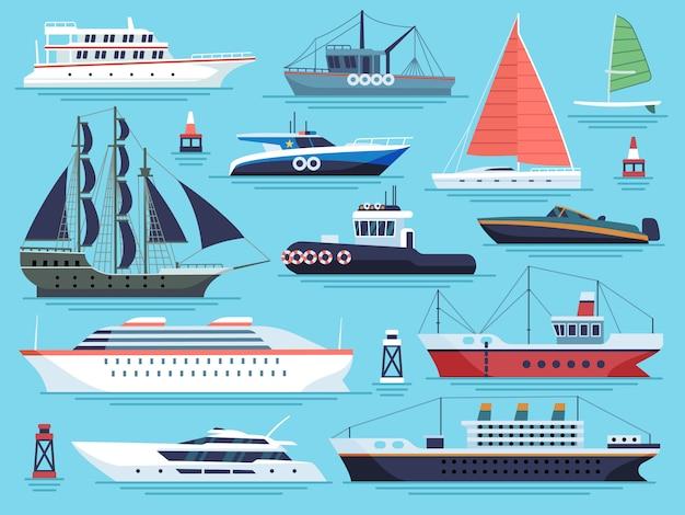 Statki morskie płaskie. wagon wodny, statki łodzie jacht okręt wojenny okręt wojenny duży statek. zestaw wektorów dok ładunków morskich
