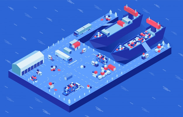 Statki towarowe w porcie ilustracji wektorowych izometryczny. proces załadunku statków przemysłowych transport morski i lądowy w dokach. transport kontenerowy, import i eksport, usługi magazynowania przesyłek