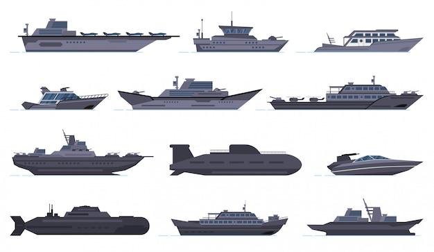 Statki wojskowe. bitewne łodzie bojowe, statek rakietowy, łodzie bezpieczeństwa, nowoczesne okręty wojenne i okręty podwodne, zestaw ikon pancerników wojskowych. wojskowa łódź i statek, ilustracja statek siły