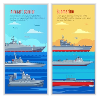 Statki wojskowe pionowe banery