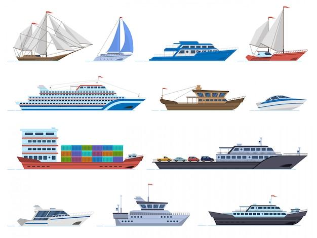 Statki żaglowe. morskie łodzie transportowe, statek towarowy, jacht, żaglówka, łódź motorowa i oceaniczny liniowiec wycieczkowy, zestaw ikon żaglówek. ilustracja żaglówkę i statek, statek i rejs