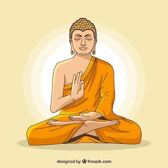 Statua buddha tło w mieszkanie stylu