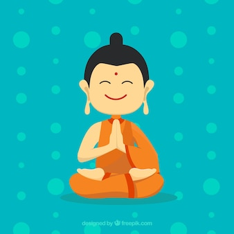 Statua buddy w ręcznie rysowane stylu