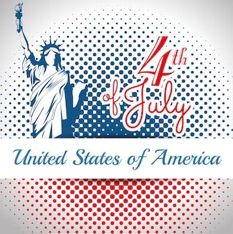 Statua wolności sylwetka i 4th lipa znak