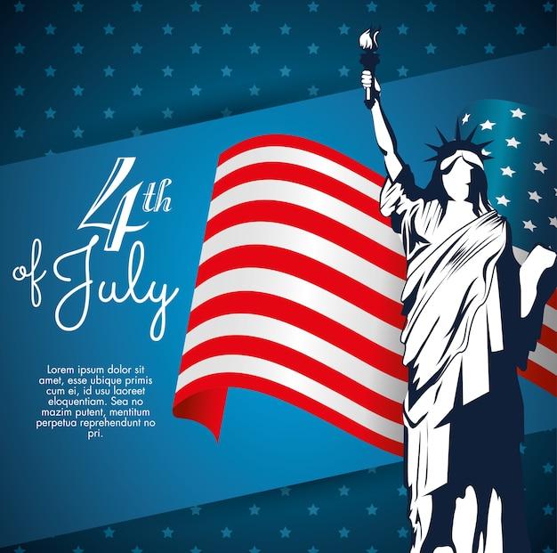 Statua wolności sylwetka z flaga amerykańską
