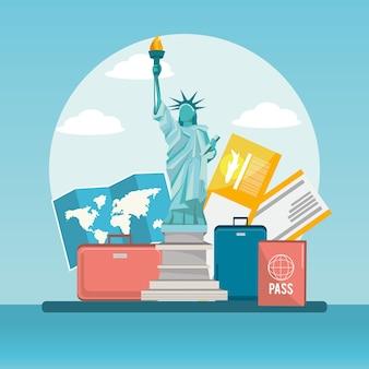 Statua wolności trabel z bagażem i paszportem