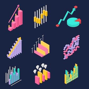 Statystyka biznesowa, firmowa, internetowa. zestaw ikon w widoku izometrycznym. kolorowe wykresy na ciemnym tle. postęp i wzrost dochodów i sukces. ilustracja wektorowa.