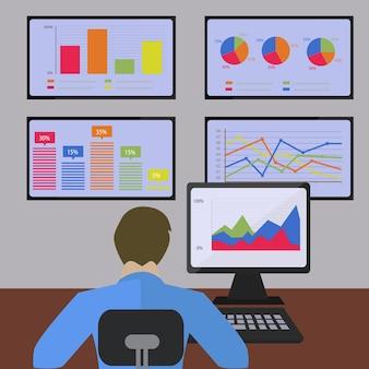 Statystyka i analiza informacji z liniami i wykresami słupkowymi