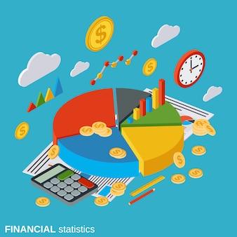Statystyki finansowe płaskie izometryczny wektor koncepcja
