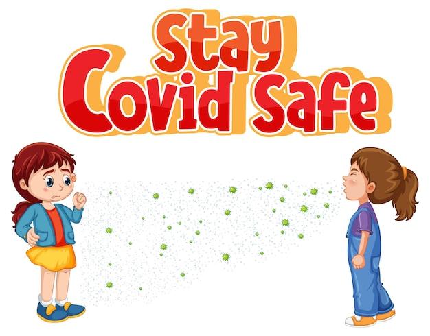 Stay covid bezpieczna czcionka w stylu kreskówki z dwiema dziewczynami utrzymującymi dystans społeczny na białym tle