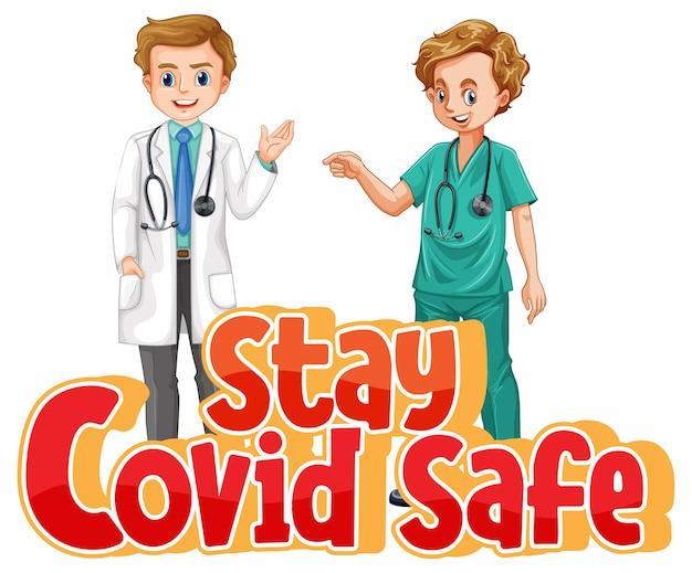 Stay covid bezpieczna czcionka w stylu kreskówki z dwoma lekarzami na białym tle