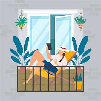 Staycation pojęcie z kobiety czytaniem na balkonie