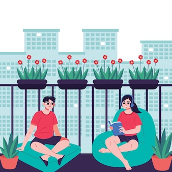 Staycation w domu balkon z mężczyzną i kobietą