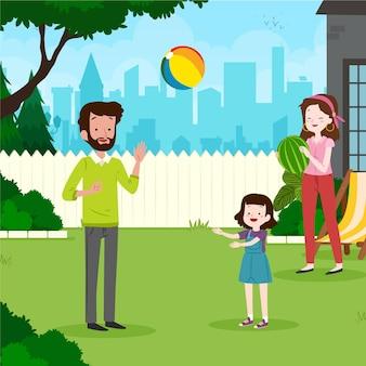 Staycation w ilustracji podwórku