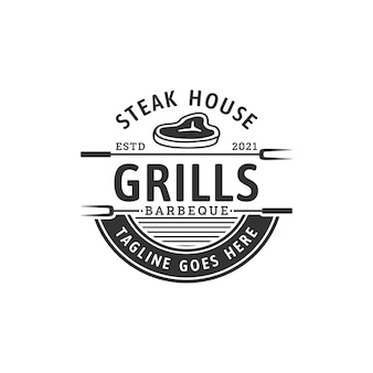 Steak house lub sklep mięsny vintage etykiety typograficzne herby logo design inspiracja