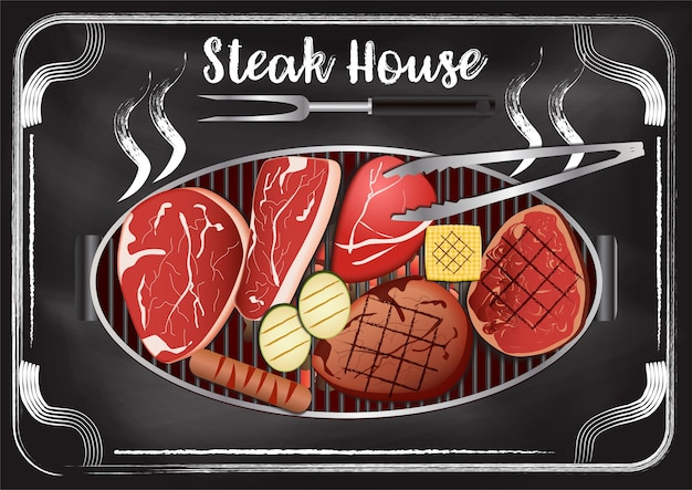 Steakhouse z tablica tło