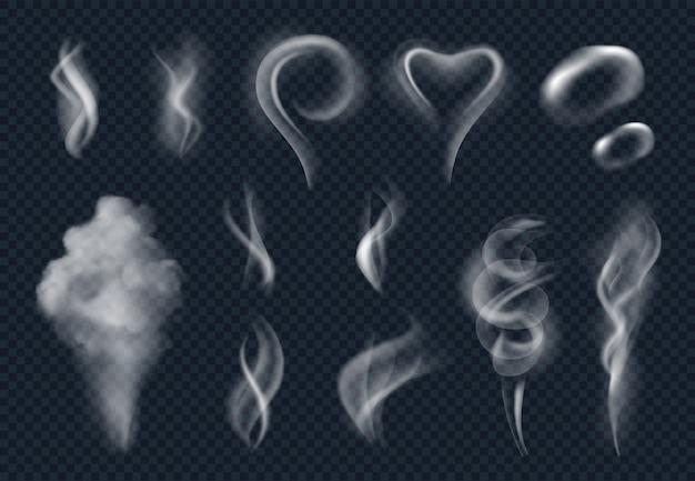 Steam realistyczny. chmura dymu tytoniu na parze chmura z gorącym jedzeniem na białym tle