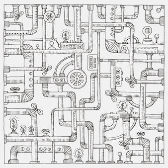 Steampunk doodle tło