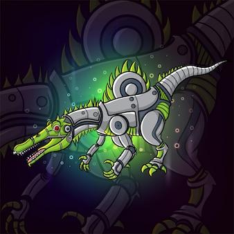 Steampunk inspiracji projektowania logo spinozaura e-sportu z ilustracji