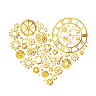 Steampunk kształt serca. złote koła zębate