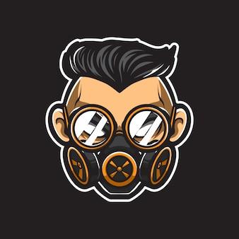 Steampunk man head vector logo