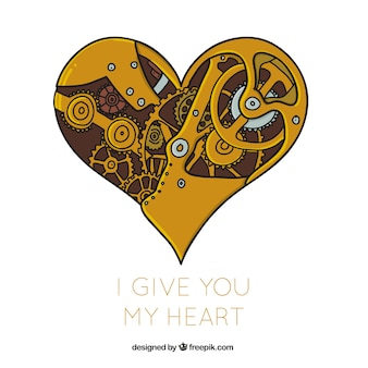 Steampunk mechaniczny tło serce