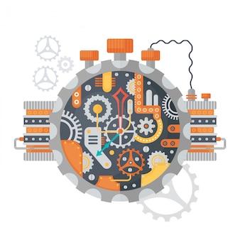 Steampunk rocznika zegarowa twarz