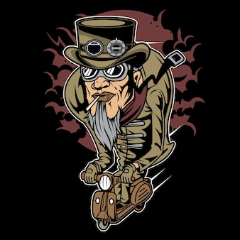 Steampunk scooterman